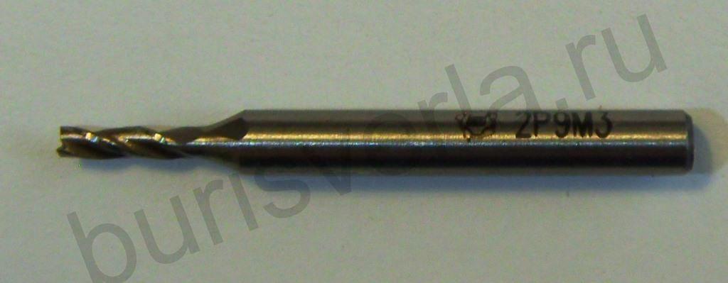 Фреза концевая 3-х заходная, Р9М3, 2 мм