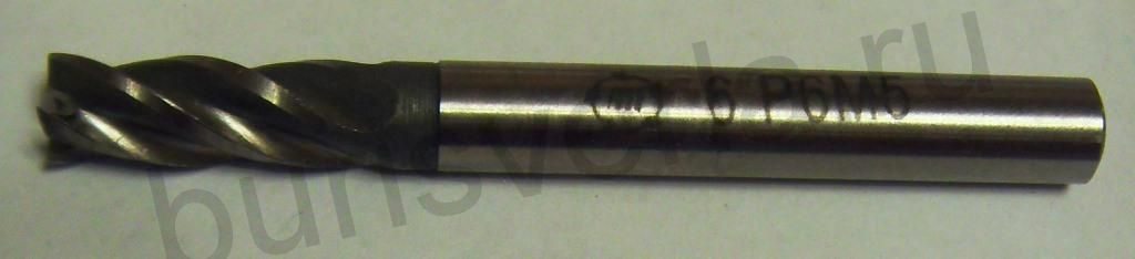 Фреза концевая 4-х заходная, Р6М5, 6 мм